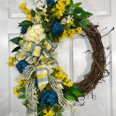 Blue and Yellow Oval Summer or Spring Grapevine Wreath