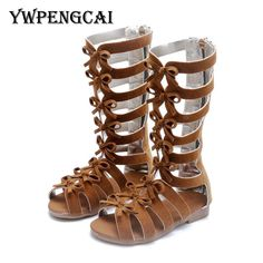 Buy Children High Sandals 2018 Summer Girls Cut-outs Small Bowties Sandals  Gladiator Rome Style Soft Flock PU Leather Sandals 20b64fce7958