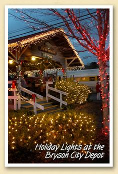Holiday lights at the Bryson City Depot