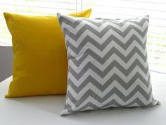 Pillow Covers Pillows Yellow Pillow Gray Chevron by PillowsByJanet, $34.00