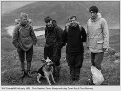 RAF Kinloss MRT hill party (Loch Quoich ?), 1972.  Chris Gaskins, Davey Sharpe (Civilian), Davey Foy, & Tony Dunning (RN).