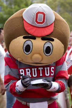 Michigan State University Mascot | Ohio State's Brutus the Buckeye signing an injury waver (in loco ...