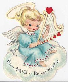 This harp valentine is a little angel! #loveisarose #harp #valentine #vintage
