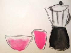 Kitchen Paintings by Heather Chontos / Milk Farm Road Moleskine, Cafe Art, Christmas Drawing, Gili Trawangan, Art For Art Sake, Mixed Media Collage, Cute Illustration, Art Sketchbook, Painting Inspiration