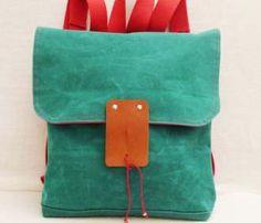 Green Waxed Canvas Backpack