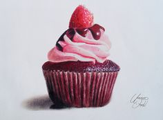 Chocolate Cupcake with raspberry -Colored Pencils by f-a-d-i-l.deviantart.com on @deviantART