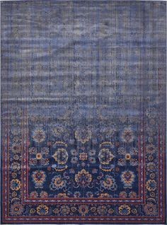 Vintage Contemporary Inspired Overdyed Distressed Rugs Navy Blue 10' x 12' 11 Chelsea Rug Traditional Area Rug Living room Bedroom Dining room Carpet