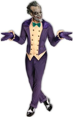 Men's Costume: Joker Arkham City-StandardJacket with attached vest and bow tie, pants, gloves, and mask. Standard fits up to size 44.Size: 44Age Group: Adult? and (c) DC Comics