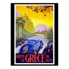 Visitez La Grece En Auto Greece Travel Canvas Art - x Vintage Travel Posters, Vintage Postcards, Retro Poster, Design Poster, Decoration Design, Up Girl, Custom Posters, Car Posters, Greece Travel