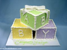 Baby Blocks in Buttercream with Fondant Bow Fondant Bow, Fondant Toppers, Baby Shower Sheet Cakes, Baby Blocks, Dots Design, Cupcake Cakes, Baby Cakes, Cupcakes, Amazing Cakes