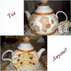 Teapot cake...hand sculpted and completely edible.