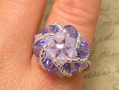 The Abby- Violet Swarovski Crystal Star Burst Flower Cocktail Stretch Ring