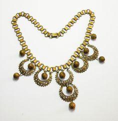 Unsigned Art Deco Gilded Brass Bib Necklace circa 1930