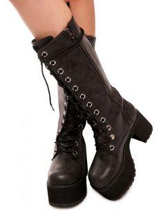 T.U.K. Distressed 12-Eye Nosebleed Platform Boots   Dolls Kill