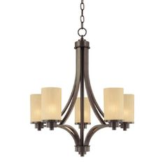 Artcraft Lighting Parkdale 24-In 5-Light Oil-Rubbed Bronze Shaded Chandelier Ac1305ob