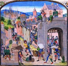 """Illustration : """"Pillage de la ville de Grammont"""" - Chroniques de Jean Froissart - XIVe siècle © domaine public - 2013"""