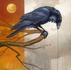 Craig Kosak - Merlin and the Golden Moon - SMALLWORK CANVAS EDITION from the Greenwich Workshop Fine Art Gallery featuring fine art prints, canvases, books, porcelains and gift ideas. Crow Art, Raven Art, Raven Tattoo, Crows Ravens, Rabe, Bird Artwork, Encaustic Art, Artist Portfolio, Fine Art Gallery