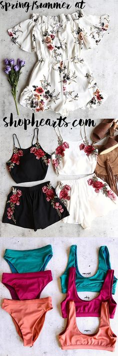 Shop our best sellers at #shophearts.com                    - Running late romper festival floral applique set the kylie bikini separates