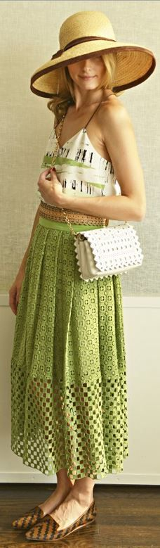 Who made Olivia Palermo's white lace handbag, stripe shirt, green pleated skirt, and brown loafers? - OutfitID