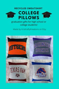 Recycled Sweatshirt College Pillows - Christmas Gifts for College Students College Student Gifts, College Students, College Packing, Christmas Pillow, Christmas Gifts, Home Sew, Practical Gifts, Dorm Decorations, Custom Pillows