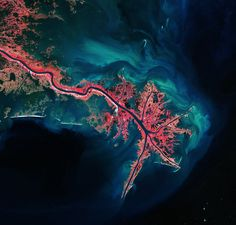 ESA archive: This Landsat image of 3 October 2011 shows the Mississippi River Delta, where the largest river in the United States empties into the Gulf of Mexico. In this false-colour image, land vegetation appears pink, while the sediment in the surrounding waters are bright blue and green.