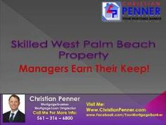 When a realistic appraisal says that you won't be able to devote much time and attention to your new holding, the way to fill that gap is to locate an experienced West Palm Beach property managers.Check this out: http://www.christianpenner.com/skilled-west-palm-beach-property-managers-earn-their-keep/