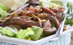Marinate the skirt steak for several hours or overnight before grilling. Serve with your favorite dressing or a squeeze of fresh lime juice and a drizzle of olive oil.