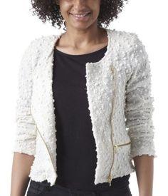 Petite veste zippée en maille ecru - Promod