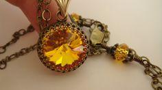 Yellow Swarovski Necklace Vintage Necklace Sun by JulianaJewelry