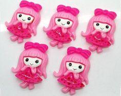 70eabcc4504d7 5 Piece Cutesy Pink Girl with Bow Cabochons - Kawaii Decoden Flatback Resin  (TDK-C1114)