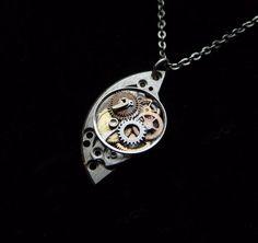 """Clockwork Pendant """"Crescent Moon"""" Elegant Watch Gear Assemblage Not Quite Steampunk Necklace A Mechanical Mind Handmade Mechanical OOAK"""