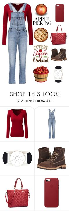 """apple picking"" by im-karla-with-a-k ❤ liked on Polyvore featuring AG Adriano Goldschmied, OXO, Timberland PRO and Apple"
