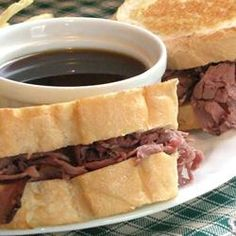 Easy French Dip Sandwiches Recipe; made with sandwich meat, less expensive and way easier. The key is the provolone cheese :)