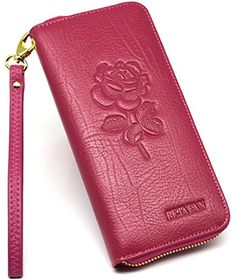 Women's RFID Blocking Large Capacity Genuine Leather Zipper Wallet Card Holder Ladies Embossing Purse at Amazon Women's Clothing store: