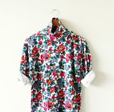Floral Bouquet Vintage Turtleneck / Soft Floral by thehappyforest