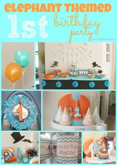 Birthday Party Elephant 1st Theme Baby