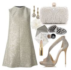"""""""Very festive"""" by perlarara ❤ liked on Polyvore featuring Jimmy Choo, Yves Saint Laurent, Judith Ripka, Santi, Bobbi Brown Cosmetics, Chanel, Sequins, holiday, festive and goldjewelry"""