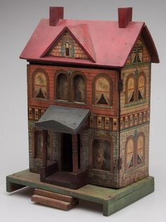 Victorian Bliss Wooden Dollhouse, late 19th century, nice simple house with soft old colors. .....Rick Maccione-Dollhouse Builder www.dollhousemansions.com