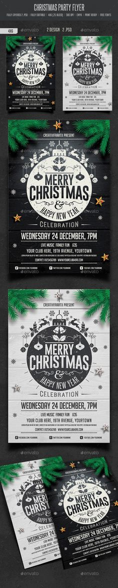 Christmas Party Flyer Template PSD #design #xmas Download: http://graphicriver.net/item/christmas-party-flyer/9551250?ref=ksioks