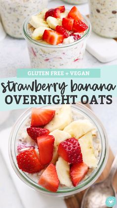 Strawberry Banana Overnight Oats Creamy overnight oats with bananas and fresh strawberries. This fruity overnight oats recipe is delicious on a busy morning Glutenfree vegan Low Carb Vegan Breakfast, Healthy Breakfast Recipes, Healthy Strawberry Recipes Clean Eating, Healthy Breakfasts, Healthy Morning Breakfast, Eating Healthy, Healthy Filling Breakfast, Healthy Breakfast Meal Prep, Breakfast Kids