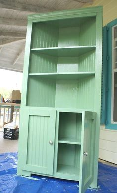 """""""Corner Cupboard: Building Plans"""" We were lucky enough to inherit 2 corner cabinets for our dining room -- they're great to have. Ours have glass doors on top, also, which helps keep dust out."""