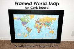 I glued a map to cork board and then framed it we used push pins to diy framed world map on corkboard gumiabroncs Image collections