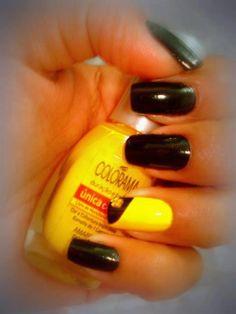 Unhas amarelas e pretas.