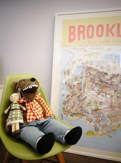 The infamous ikea toy with cartoon Brooklyn poster from New York