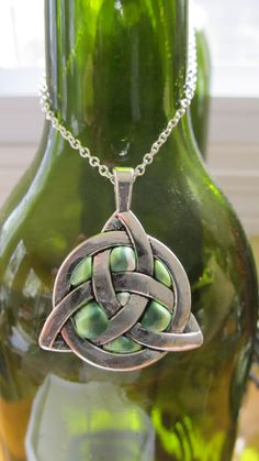 Silver and Polymer Clay Celtic Knot Pendant by SassyClassyclay