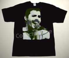 QUEEN Freddie Mercury drawing 18 CUSTOM ART UNIQUE T-SHIRT   Each T-shirt is individually hand-painted, a true and unique work of art indeed!  To order this, or design your own custom T-shirt, please contact us at info@collectorware.com, or visit http://www.collectorware.com/tees-queen_andrelated.htm