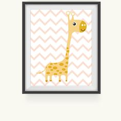 Nursery Prints, Giraffe on Pink Chevron Print, Nursery Art Print, Nursery Wall Art, Nursery Wall Decor, Baby Nursery Decor, Kids Room Print on Etsy, $5.00
