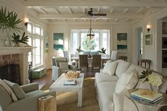 Neutral Territory...beautiful family room living room white with neutrals