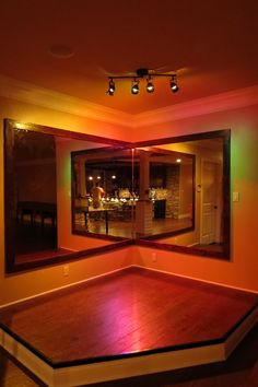 Basement stage. with a curtain and more rounded. Karaoke night would never be the same!