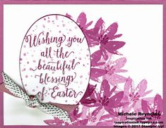 """Avant Garden Sugarplum Easter card using Stampin' Up! products - Avant Garden Photopolymer Stamp Set, Suite Sayings Stamp Set, Layering Ovals Framelits Dies, Succulent Garden 3/8"""" Ribbon Combo Pack, and 3/8"""" Metallic Ribbon Combo Pack.  Directions and measurements on my blog.  By Michele Reynolds, Inspiration Ink."""